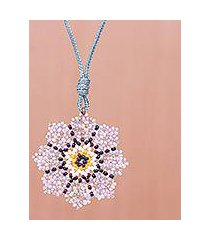 beaded pendant necklace, 'eight petals in lavender' (thailand)