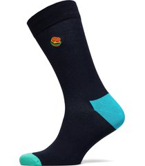embroidery hamburger sock underwear socks regular socks blå happy socks