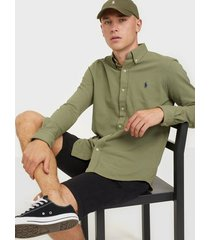 polo ralph lauren featherweight long sleeve knit skjortor sage