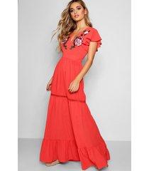 embroidered ruffle hem maxi dress, coral