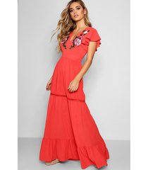 embroidered ruffle hem maxi dress, coral