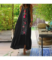 zanzea verano de las mujeres de cuerpo entero floral sundress peplum de la llamarada el columpio vestido maxi largo cami -negro