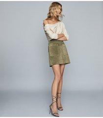 reiss flo - linen cotton blend asymmetric top in neutral, womens, size xl