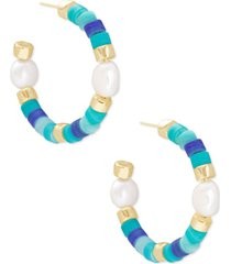 kendra scott 14k gold-plated medium stone bead & genuine pearl (10-14mm) open hoop earrings, 2""