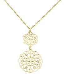 collana lunga in ottone dorato e strass con fiocco di neve per donna