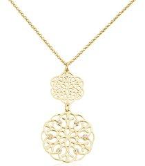 collana y shape a due pendenti in ottone dorato e strass con simbolo fiocco di neve per donna