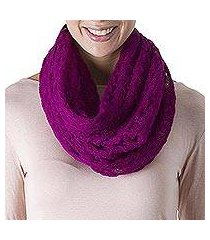 alpaca blend infinity scarf, 'fashionable andes in magenta' (peru)