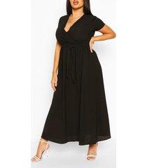 plus maxi jurk met vleermuismouwen, zwart