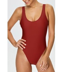 backless high cut one-piece swimwear