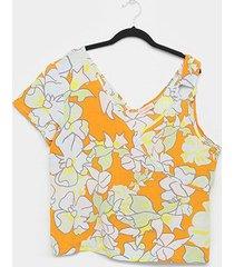 blusa allexia plus size assimétrica feminina