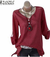 zanzea ocasional de las mujeres suelta el botón de arriba hacia abajo camisa de manga larga túnica de la blusa -rojo