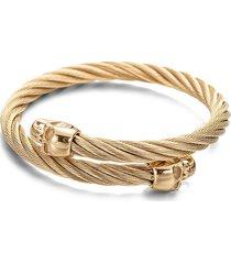 eye candy la women's luxe nick 18k goldplated titanium skull head wire cuff bracelet