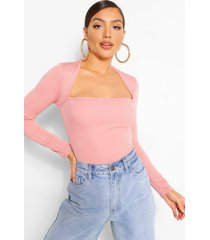 ribbed square neck top, peach