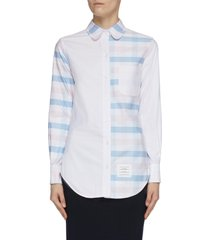 'funmix' contrast panel check oxford shirt