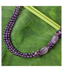 amethyst beaded necklace, 'lilac sun' (thailand)