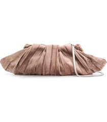 cecchi de rossi small silk velvet clutch bag - neutrals