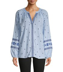 q & a women's embroidered cotton top - blue - size xs