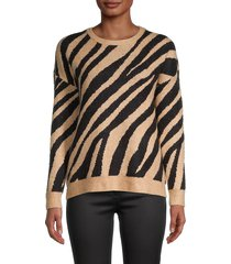 saks fifth avenue women's zebra-jacquard sweater - classic camel - size s