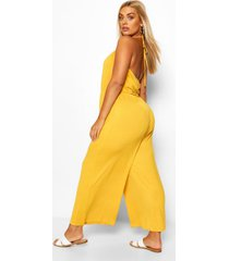 plus strappy jersey jumpsuit, chartreuse