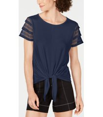 inc plus size lace-sleeve tie-front top, created for macy's