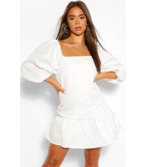 gesmokte jacquard jurk met pofmouwen, wit