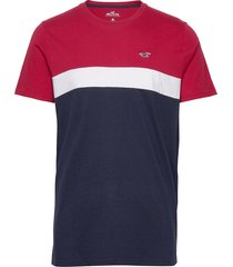 crew raglan&blocking t-shirts short-sleeved blå hollister