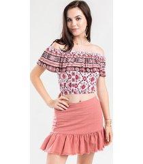 portland ruffle mini skirt - pink