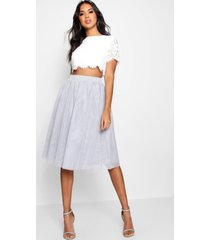 woven lace top & contrast midi skirt co-ord set, grey