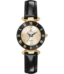 jacques du manoir ladies' black genuine leather strap with goldtone case and black and goldtone dial, 26mm