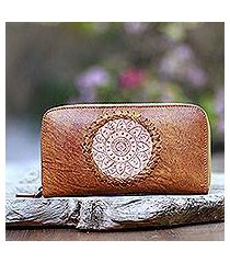 leather clutch, 'padma center in ginger' (indonesia)