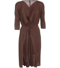 pleats please issey miyake double breasted coat w/ belt and horizontal pleats and