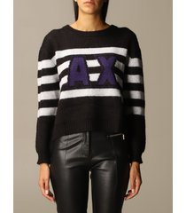 armani exchange sweater over boxy bands logo crewneck