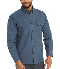 wolverine men's glacier midweight long sleeve flannel shirt (big & tall) navy heather, size xlt