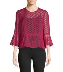 bcbgmaxazria women's printed bell-sleeve top - beet red - size m