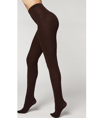 calzedonia soft modal and cashmere blend tights woman brown size xl