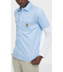 carhartt wip s/s master shirt skjortor light blue