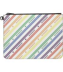 rainbow logo print large zip pouch