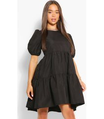 oversized puff sleeve smock dress, black