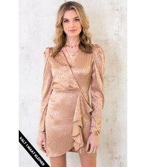 zijden leopard jurk champagne