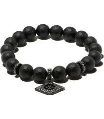 loree rodkin 14kt gold diamond bead bracelet - black gold