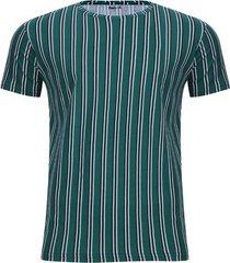 camiseta estampada rayas color verde, talla xl