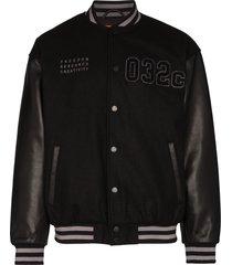 032c logo varsity bomber jacket - black