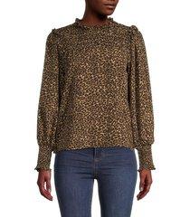 lea & viola women's leopard-print ruffle blouse - brown print - size l