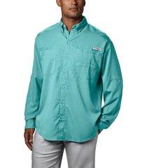 camisa hombre tamiami ii ml azul aguamarina columbia