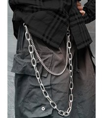 hombres punk street style cintura de doble capa pantalones cadena