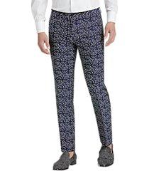 paisley & gray slim fit suit separates formal pants black & navy brocade