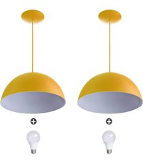 2 lustres pendente meia lua 40cm amarela + lampada