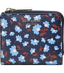 floral-print leather bi-fold wallet