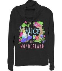 fifth sun women's alice in wonderland neon alice fleece cowl neck sweatshirt