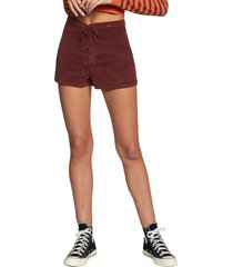women's rvca camille lace up shorts, size 30 - brown
